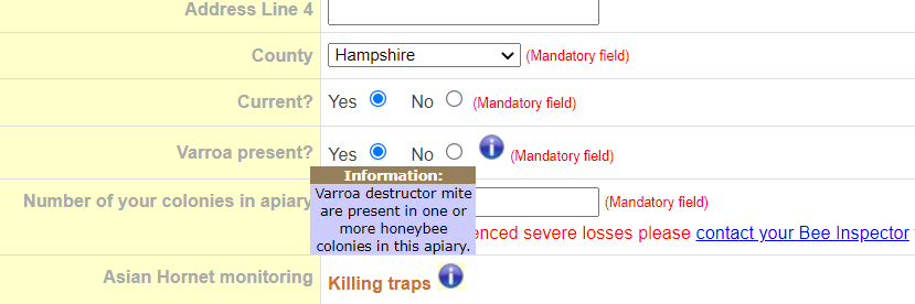 A screenshot of NBU Beebase showing the tick-box for Varroa mites in the apiary